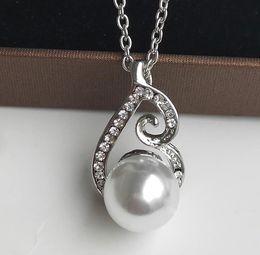 $enCountryForm.capitalKeyWord Australia - Bridal Rhinestone Necklace Earring Set Pearl Jewelry Two-Piece Set