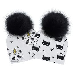 Animal Caps Faux Fur Australia - Baby Animals Prints Hat Pom Beanie Hats Panda Shark Bear Girls Boys Faux Fur Pompom Ball Earmuffs caps WWA15