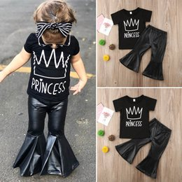 Designer Leather Trousers Australia - Ins Baby Girls Outfits black short sleeve T shirt+Pu leather Flared trousers Summer Fashion Kids Sets Girl Suit kids designer clothes A4690