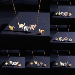 $enCountryForm.capitalKeyWord NZ - Belleper Tri-color Butterfly Hollow Stainless Steel Necklace Earrings Set Women Love Round Heart Snowflake Flower Jewelry Set