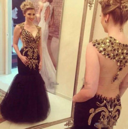 Black Gold Dresses Evening Wear Australia - Zuhair Murad Luxury Beades Crystals Prom Dresses Deep V Neck Backless Mermaid Evening Dress Gold and Black Formal Gowns Party Wear Plus Size