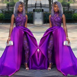$enCountryForm.capitalKeyWord Australia - 2019 Black Girl Jumpsuits Prom Dresses Detachable Train High Neck Lace Appliqued Bead Evening Gowns Luxury African Party Women Pant Suits
