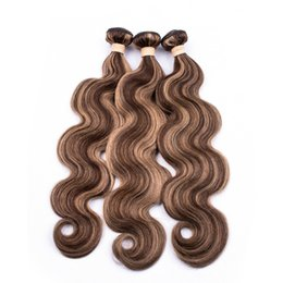 human hair weave mixed blonde Australia - #4 27 Piano Color Body Wave Indian Human Hair Weave Wefts Brown Mixed with Honey Blonde Highlight Color 3Bundles Piano Color Hair Extensions