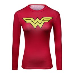 superman fitness shirt Australia - 2018 Ladies Comics Marvel Superman Captain America Wonder Women's Compression Shirts Long sleeve TShirt Female Fitness Tights S