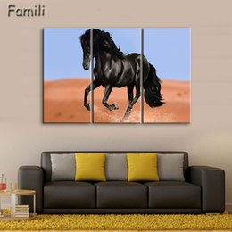 $enCountryForm.capitalKeyWord Australia - 3Pcs Set Sunset Horse Canvas Painting Animal Poster Vintage Grassland Wall Christmas Canvas Pictures For Home Decor Cheap Wall Art