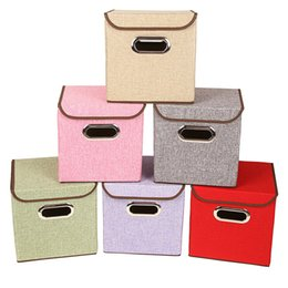 $enCountryForm.capitalKeyWord Australia - Clothing Storage Boxes Linen Basket Fabric Foldable Cubes Organizer Containers with Lid & Handle for Office Nursery Bedroom Shelf