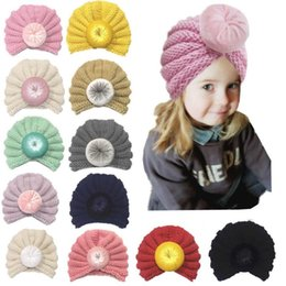baby autumn hat Canada - Baby girls boys Knot Ball Caps Spring Autumn Kids Knitting wool Hats Infant Toddler Boutique Indian Turban 12 colors