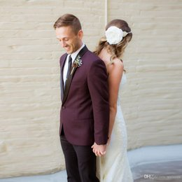 Cheap Black Suits For Men Australia - Cheap Burgundy Custom Made Suits For Men Slim Fit Grooms Tuxedos One Button Black Shawl Lapel Wedding Suits Casual Coat for Gentleman