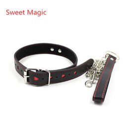 Wholesale Sweet Magic Red Heart Neck Collar With Chain Sex Slave Role Play Necklace For Couples Fetish Restraint Bondage Sexy Costums Accessory