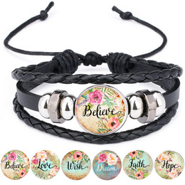 wholesale faith bracelets Australia - Bible Verse Leather Bracelet Faith Dream Love Hope Believe Art Glass Dome Charms Bracelet Psalm Quote Jewelry Christian Gifts