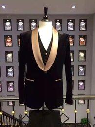 $enCountryForm.capitalKeyWord Australia - Fashionable One Button Groomsmen Shawl Lapel Groom Tuxedos Men Suits Wedding Prom Dinner Best Man Blazer(Jacket+Pants+Tie+Vest) A127