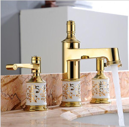 Sinks Product Australia - 2 Color Bathroom faucet 3 holes double handle Rose Golden basin sink water taps solid brass in the bathroom products N5471