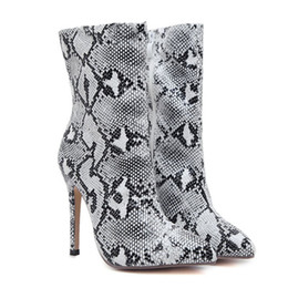 high heeled knight boots UK - High-heeled Boots 2019 Autumn single-single Knight Boots Sexy Fine With Snake Pattern Pointed Female Boots