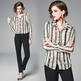 73a3c1cfe33eab 2019 Spring Summer Runway Fashion Gold Striped Print OL Womens Ladies  Casual Office Button Front Lapel Neck Long Sleeve Blouses Shirts Top