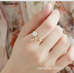 $enCountryForm.capitalKeyWord Australia - Korean Fashion Temperament Rhinestones Twisted Leaves Wishful Flowers Open Ring Index Finger Ring Female Rings For Women Anel