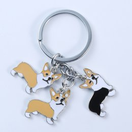 Poodle Pendants Wholesale NZ - Corgi Keychains Car keychain 3 dogs Backpack pendant French Bulldog Husky Poodle Golden pet key chain