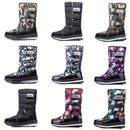 waterproof camo fabric Australia - 2020 Fashion designer women men boots Black Blue Red Camo Half Boot mens snow winter boots waterproof platform booties 36-46