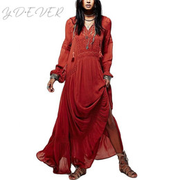c88048a05daa Hippie Chic People Boho Dress Women Autumn White Wine Red Long Sleeve  Bohemian Long Maxi Dress Vestidos Party Dresses X095T1