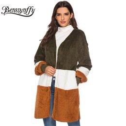 $enCountryForm.capitalKeyWord NZ - Benuynffy Autumn Winter Fleece Long Sleeve Teddy Coat Women High Street Color Block V Neck Open Front Coat Female Casual Outwear