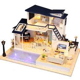 Diy Doll house kits online shopping - New Doll House Wooden Furniture Diy House Miniature Assemble d Miniaturas Dollhouse Puzzle Kits Toys For Children Birthday Gift Y19070503