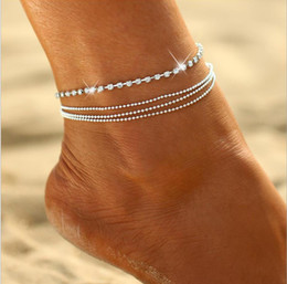 $enCountryForm.capitalKeyWord Australia - Four layer Anklet bead metal chain and Acrylic diamond prong setting chain silver plated women girls gift