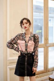 Large Lapel Suits Australia - Spring and summer new women's color contrast large pocket plaid chiffon shirt loose suit collar short shirt tide
