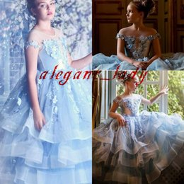Fathers day chocolate online shopping - Sky Blue luxury Flower Girl Dresses Cap Sleeve Lace Appliques Beading Pageant Gowns Tiered Skirts Kids princess Communion Dress