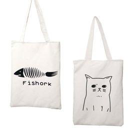 Used Cat Australia - Cartoon Animal Cat Women's Canvas Tote Bag Eco Shopping Bag Daily Use Foldable Handbag Large Capacity Canvas Tote For Female