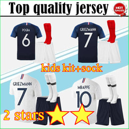 214e889bc1f Jersey stars online shopping - 2019 Two stars GRIEZMANN MBAPPE Kids soccer  jersey boys child POGBA