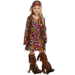 Discount indian costume kids - Kids Fringed Native Indians Aboriginal Costume Cosplay For Girls Carnival Halloween Hip Hop Party Fancy Dress Costumes