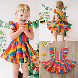rainbow baby clothes Canada - New Toddler Kid Baby Girl Rainbow Dress Ruffle Princess Party Dress Casual Clothes 0-5Y