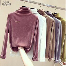 long sleeve modal tees Australia - Autumn Long Sleeve Velvet T Shirt Women Tee 2020 Loose Letter Embroidery Tshirts Casual Shirts Modal For Women Top Winter Shirt