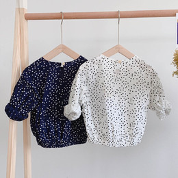 StyliSh blouSeS topS online shopping - Stylish INS Little Girls Polka Dot Blouses Shirts Lace Round Collar Chiffon Lovely Children Long Sleeve Princess Girls Shirts Tops