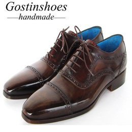 Handmade Brogue Men Shoe Australia - GOSTINSHOES HANDMADE Brogue Oxford Shoes Hand-Painted Cow Leather Cap Toe Lace-Up Leather Shoes Men Goodyear Welted Formal SCT22