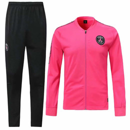 Originals tracksuit online shopping - 19 Pari s Sportswear SetFootball tracksuit shirts and trousers waist red black football Jersey S XL top quality original team suit