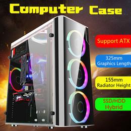 Опт Сталь + акрил Крышка корпуса игрового компьютера USB3.0 Боковое полупрозрачное 5 вентиляторов Корпус для ATX для M-ATX для Mini-ITX 38x18x40см