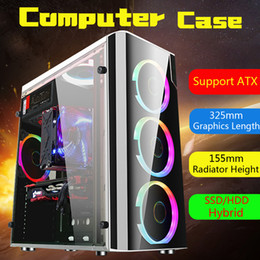 venda por atacado Aço + Acrílico USB3.0 Gaming Computer Case Capa Lateral Translúcido 5 Fãs Chassis para ATX para M-ATX para Mini-ITX 38x18x40 cm