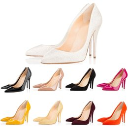 Red White Dresses Australia - 2019 Luxury Designer Women Heels Pumps High Heels 8cm 10cm 12cm Black White Yellow Leather Pointed Toes Red Bottom Dress Wedding Shoes
