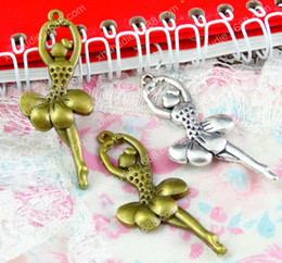 Dancer Bracelets Australia - 50pcs 51*20.5MM Antique silver ballerina bronze ballet dancer charms for bracelet vintage metal pendants earring handmade DIY jewelry making