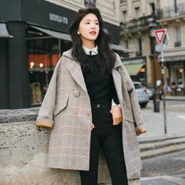 f04625a03 Nova Queda Coreano Outono Inverno Moda Misturas De Lã Do Vintage Solto  Xadrez Casaco Longo Casuais Mulheres Casacos Jaquetas Femininas Plus Roupas