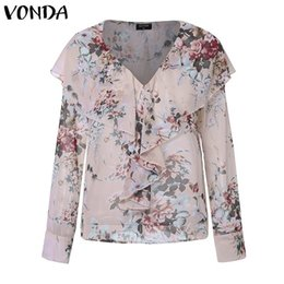 sleeveless tops office NZ - VONDA Office Ladies Blouse 2019 Spring Bohemian Tops Women Sexy Tunic V-Neck Ruffles Floral Print Tops Elegant Blusas Plus Size SH19010