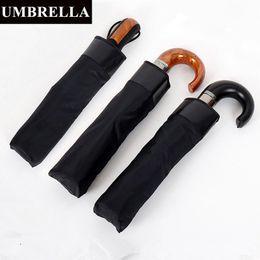 Umbrellas Black Australia - 3 Fold AutomaticElephant Family Umbrella Leather Imitation Wood Handle 10 Ribs Large Men's Business Pure Black Umbrella Parasol