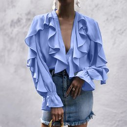 $enCountryForm.capitalKeyWord Australia - women sweet ruffled chiffon blouses deep V-neck long sleeve cute female casual fashion blue shirt stylish tops blusas