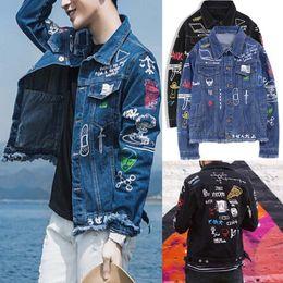 Graffiti mens shirts online shopping - Patchwork Jeans Jacket Long Sleeve Mens Hip Hop Graffiti Printed Pocket Casual Shirts Fashion Streetwear