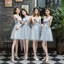 $enCountryForm.capitalKeyWord Australia - New light grey summer lace short cute lady girl women princess bridesmaid banquet party ball dress