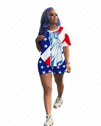 american football suit Australia - 2020 The American National Flag Printed Women Tracksuit Short Sleeve Top Tees and Shorts Two Piece Sports Suit Brand Ladies Outfits D61906