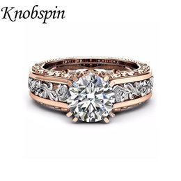 $enCountryForm.capitalKeyWord NZ - Rose Gold Color Vintage Red Blue Crystal Rings Flower Cubic Zirconia Ring for Women Gift Jewelry bague femme Drop Shipping