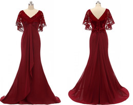 $enCountryForm.capitalKeyWord Australia - Sexy Dark Red Mermaid 2019 Mother of the Bride Groom Dresses V neck Lace Juliet Short Sleeves Chiffon Long Evening Formal Gowns