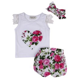 red baby vest UK - Cute Kids Baby Girls Lace Sleeve Outfits Clothes Love Heart T-shirt Tops+Floral Shorts Headabnd 3PCS Clothes Set Summer Red Blue Color: , Si