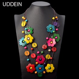 leather wood pendant NZ - Uddein Bohemian Maxi Necklace For Women Party Jewelry Multi Layer Wood Tassel Pendant Statement Choker Flower Necklace Collar T190702